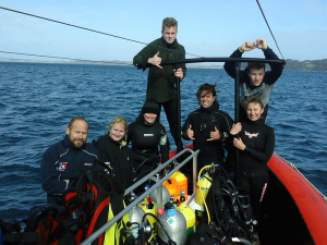 Happy divers at the Outpost