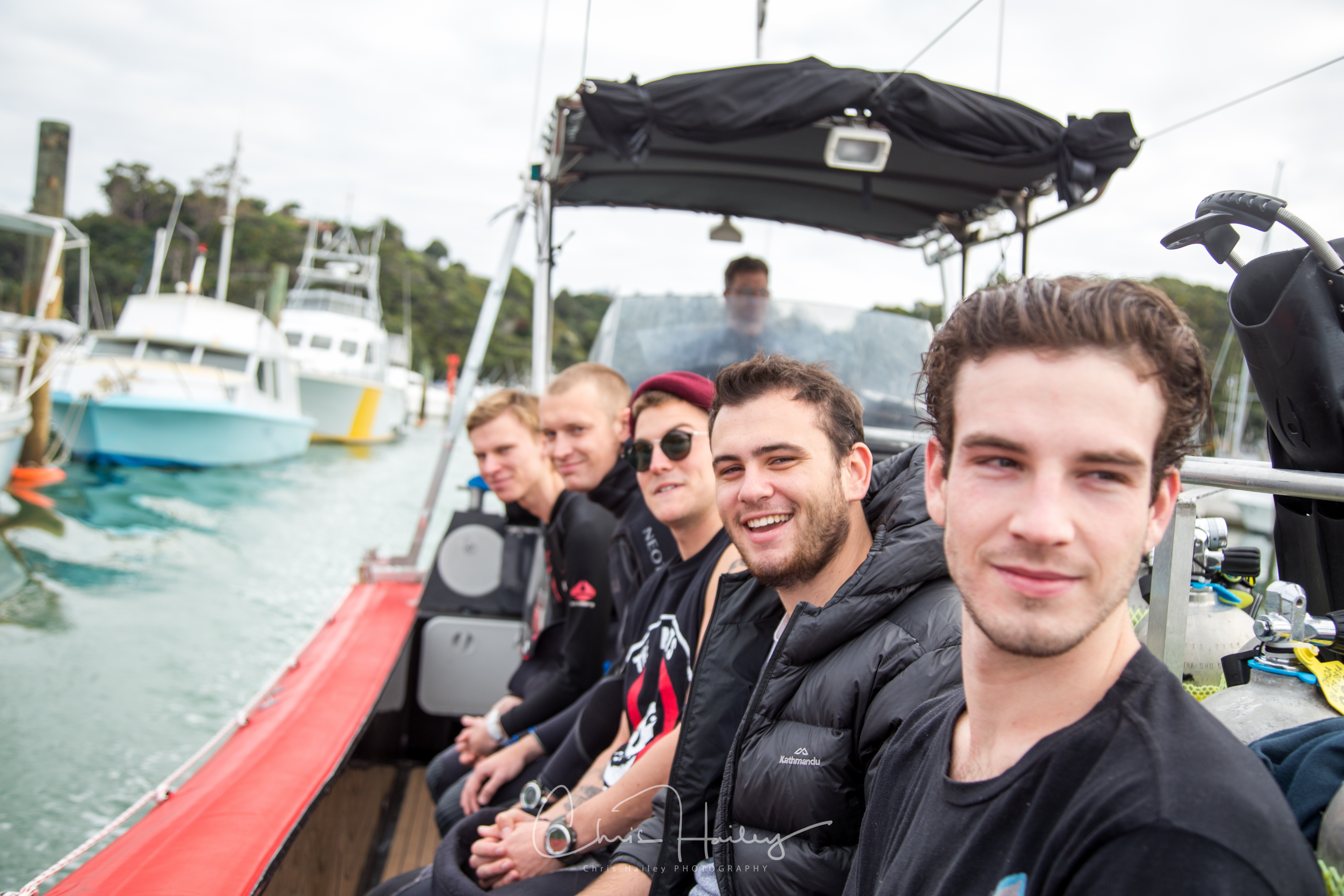 The Diploma group on the Auckland Scuba Boat